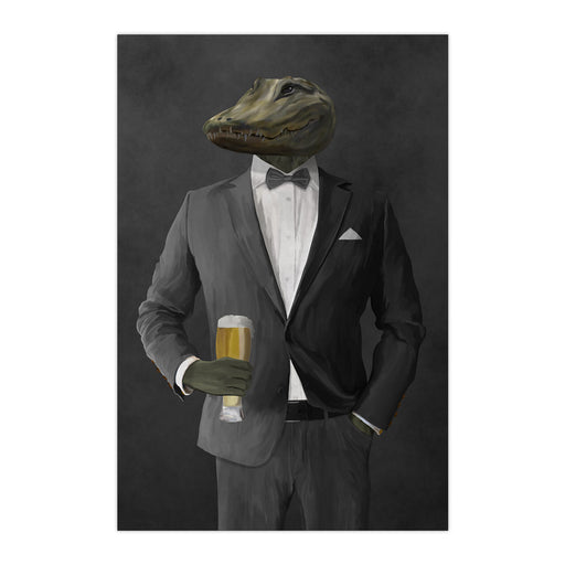 Alligator Drinking Beer Wall Art - Gray Suit