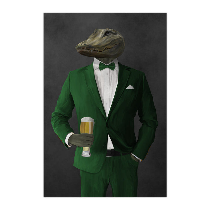 Alligator Drinking Beer Wall Art - Green Suit