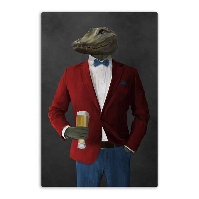 Alligator Drinking Beer Wall Art - Red and Blue Suit