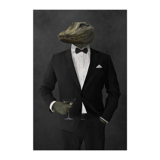Alligator Drinking Martini Wall Art - Black Suit