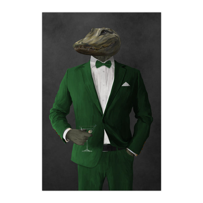 Alligator Drinking Martini Wall Art - Green Suit