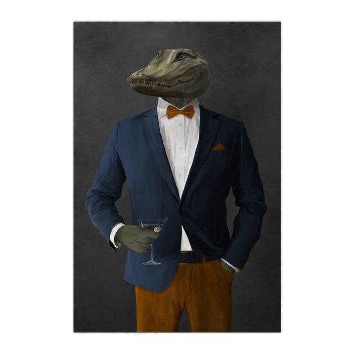 Alligator Drinking Martini Wall Art - Navy and Orange Suit