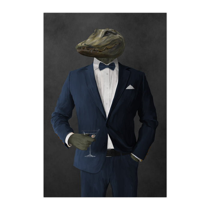 Alligator Drinking Martini Wall Art - Navy Suit
