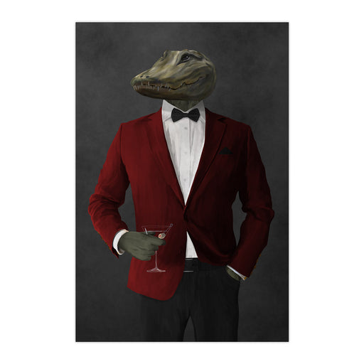Alligator Drinking Martini Wall Art - Red and Black Suit
