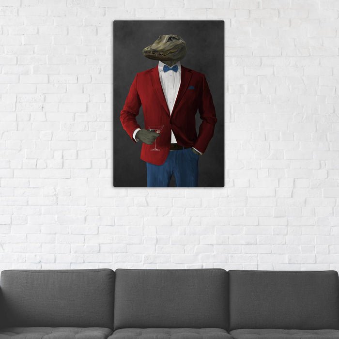 Alligator Drinking Martini Wall Art - Red and Blue Suit