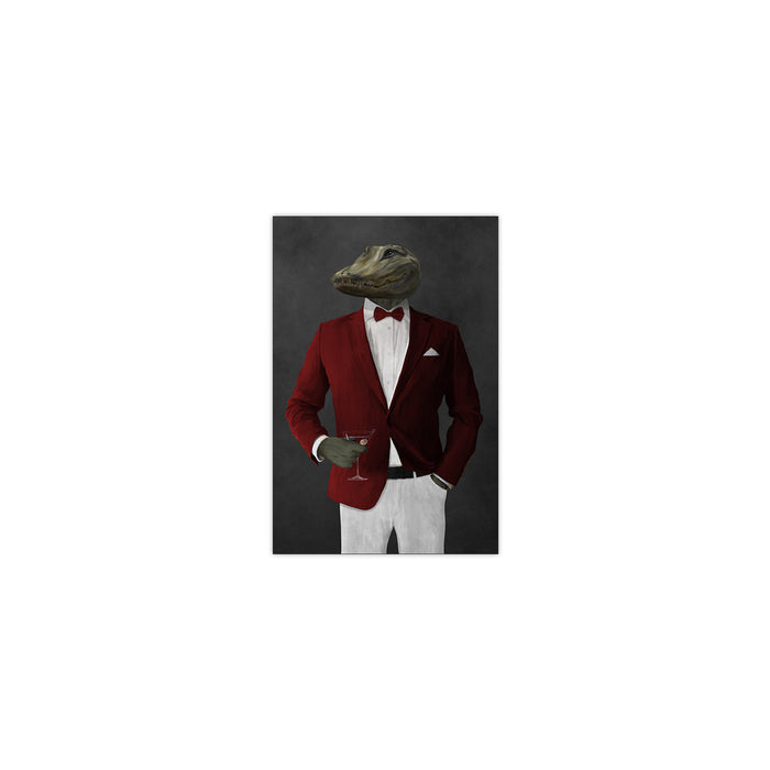 Alligator Drinking Martini Wall Art - Red and White Suit
