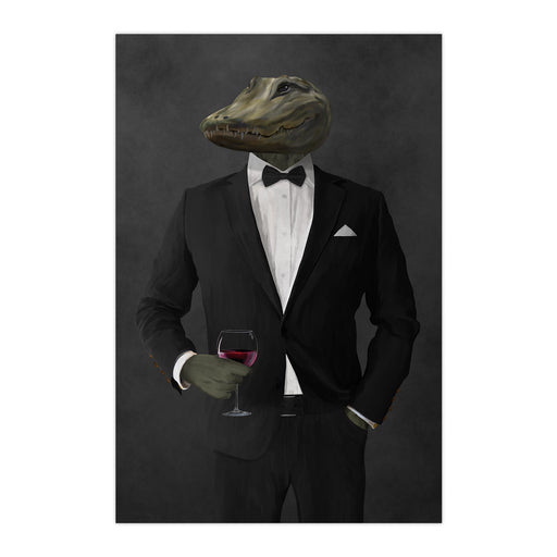 Alligator Drinking Red Wine Wall Art - Black Suit
