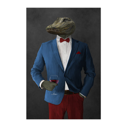Alligator Drinking Red Wine Wall Art - Blue and Red Suit