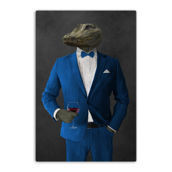 Alligator Drinking Red Wine Wall Art - Blue Suit