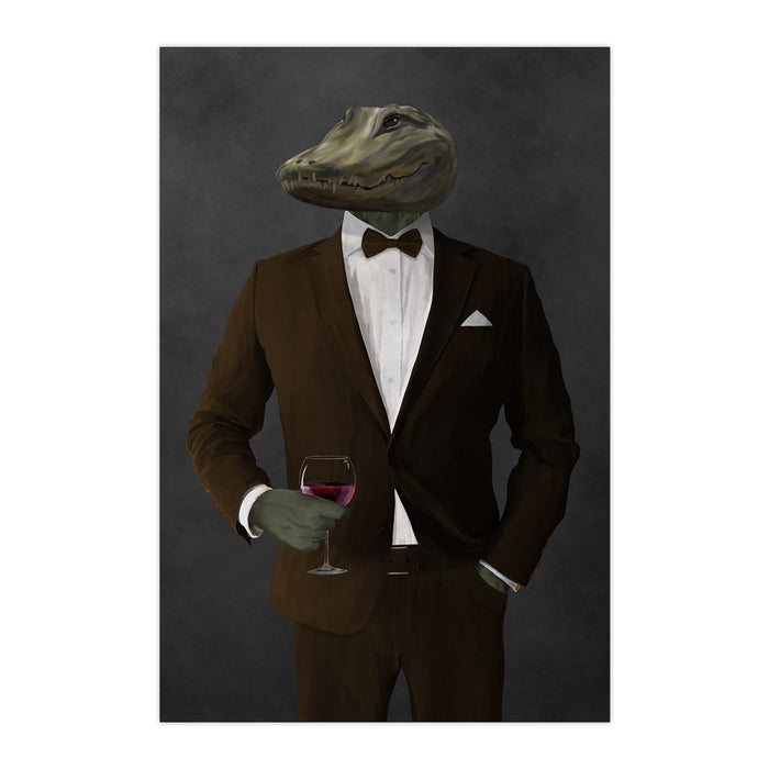 Alligator Drinking Red Wine Wall Art - Brown Suit