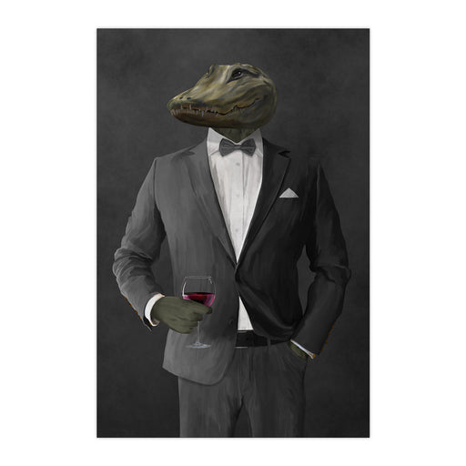 Alligator Drinking Red Wine Wall Art - Gray Suit