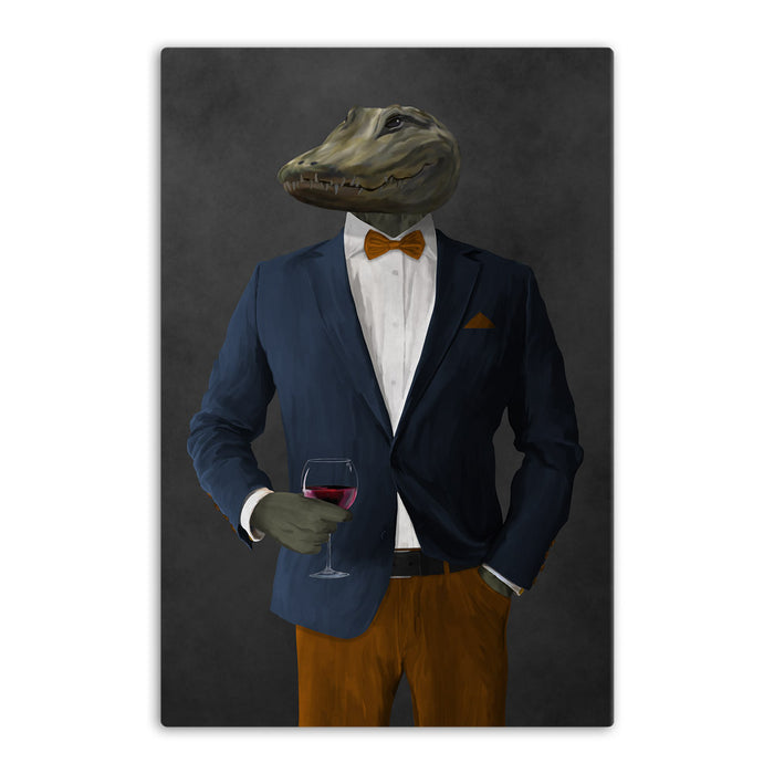 Alligator Drinking Red Wine Wall Art - Navy and Orange Suit