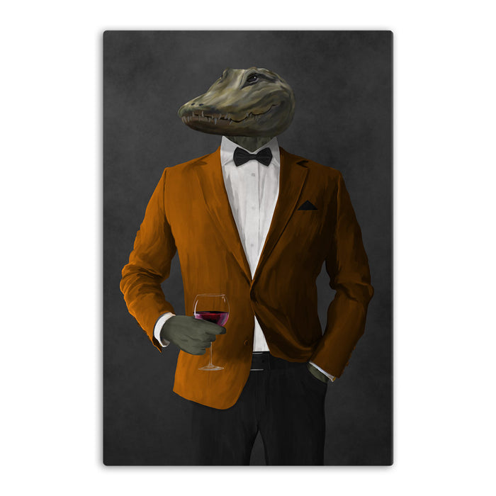 Alligator Drinking Red Wine Wall Art - Orange and Black Suit