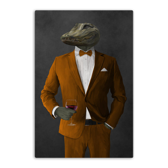 Alligator Drinking Red Wine Wall Art - Orange Suit