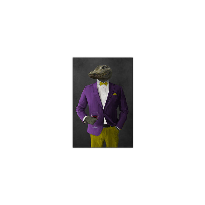 Alligator Drinking Red Wine Wall Art - Purple and Yellow Suit