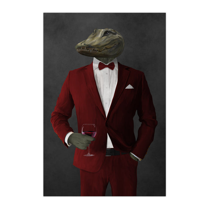 Alligator Drinking Red Wine Wall Art - Red Suit