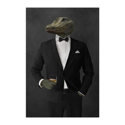 Alligator Drinking Whiskey Wall Art - Black Suit