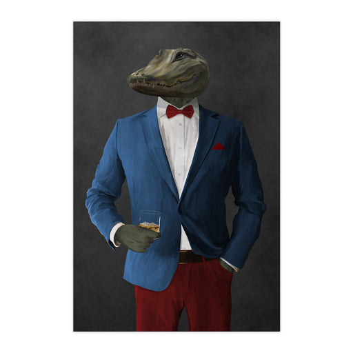 Alligator Drinking Whiskey Wall Art - Blue and Red Suit