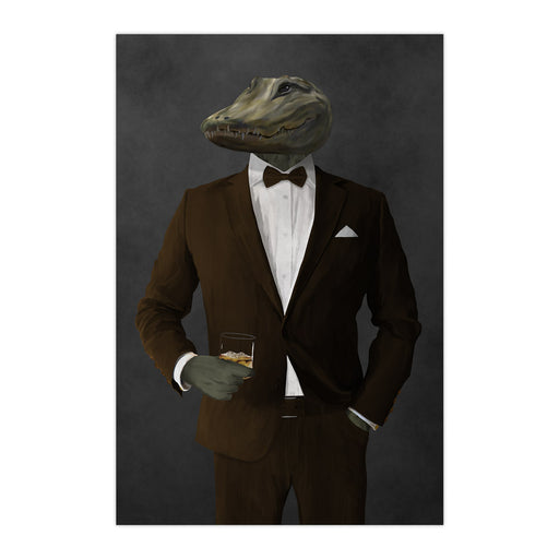 Alligator Drinking Whiskey Wall Art - Brown Suit