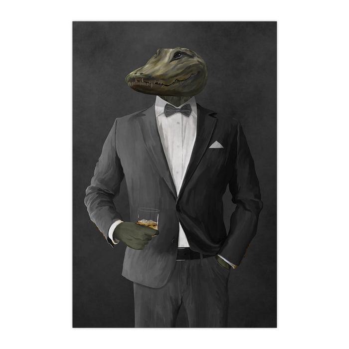 Alligator Drinking Whiskey Wall Art - Gray Suit