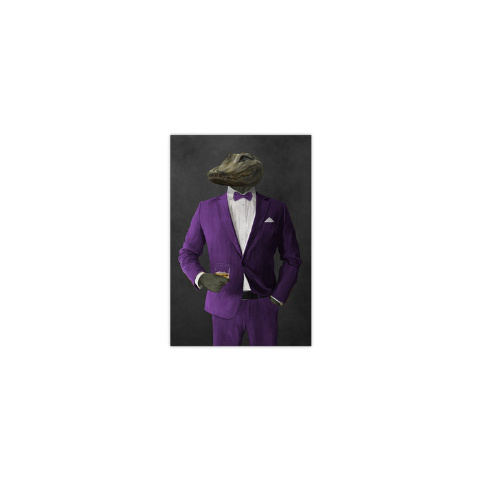 Alligator Drinking Whiskey Wall Art - Purple Suit