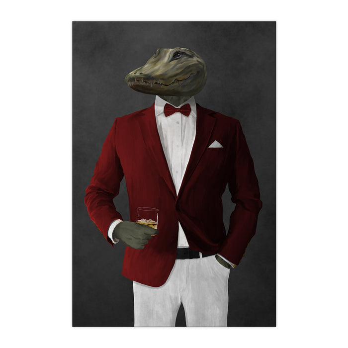 Alligator Drinking Whiskey Wall Art - Red and White Suit