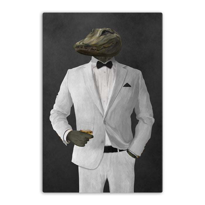 Alligator Drinking Whiskey Wall Art - White Suit