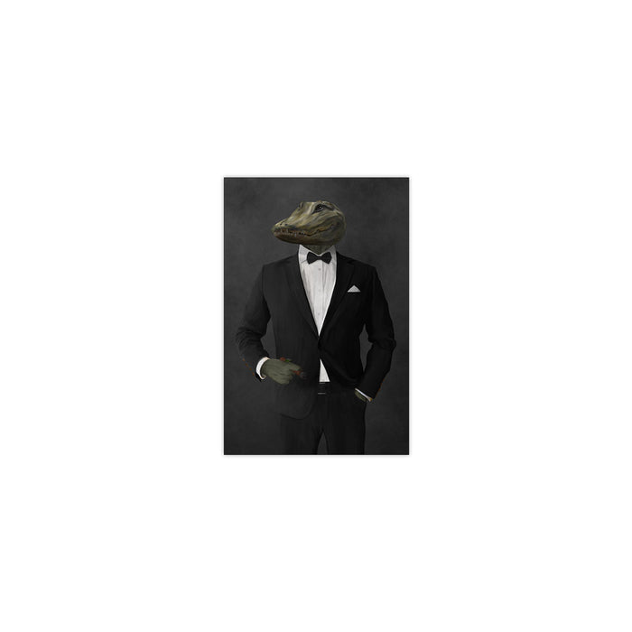 Alligator Smoking Cigar Wall Art - Black Suit