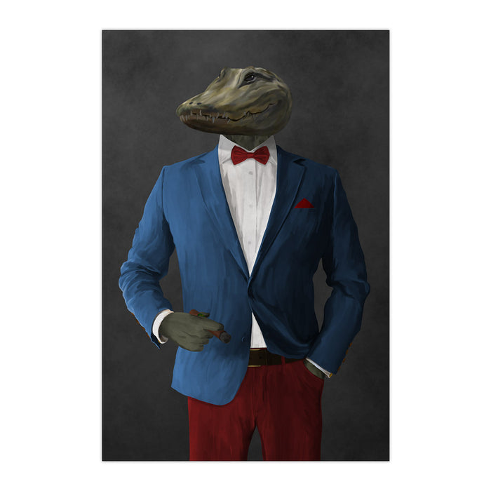 Alligator Smoking Cigar Wall Art - Blue and Red Suit