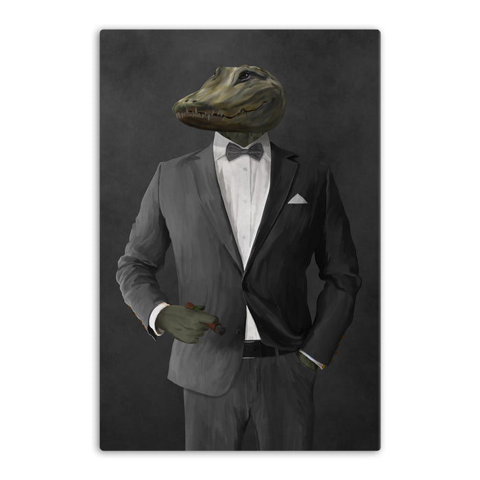 Alligator Smoking Cigar Wall Art - Gray Suit