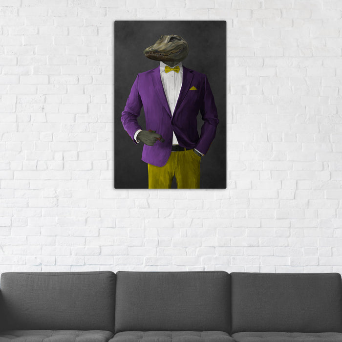 Alligator Smoking Cigar Wall Art - Purple and Yellow Suit