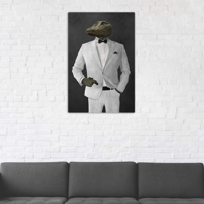 Alligator Smoking Cigar Wall Art - White Suit