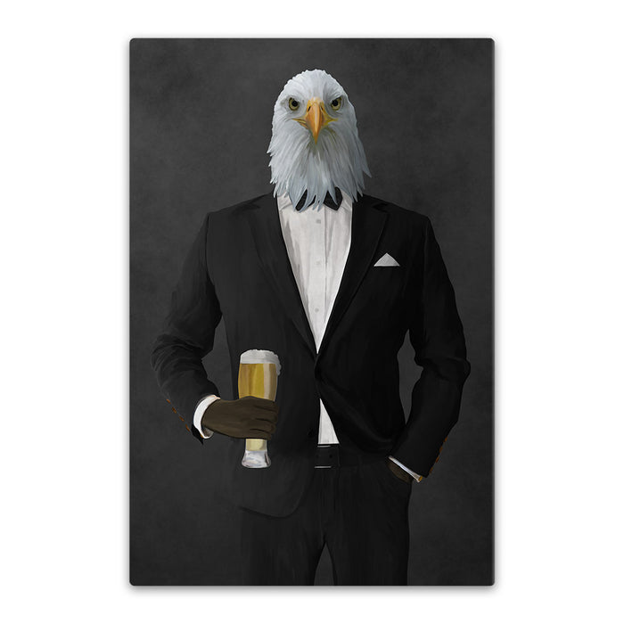 Bald eagle drinking beer wearing black suit canvas wall art