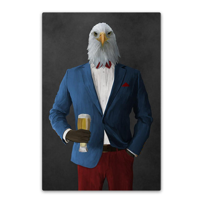 Bald eagle drinking beer wearing blue and red suit canvas wall art