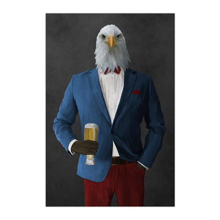Bald eagle drinking beer wearing blue and red suit large wall art print