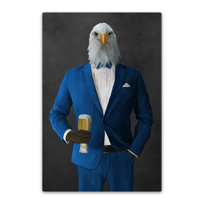 Bald eagle drinking beer wearing blue suit canvas wall art