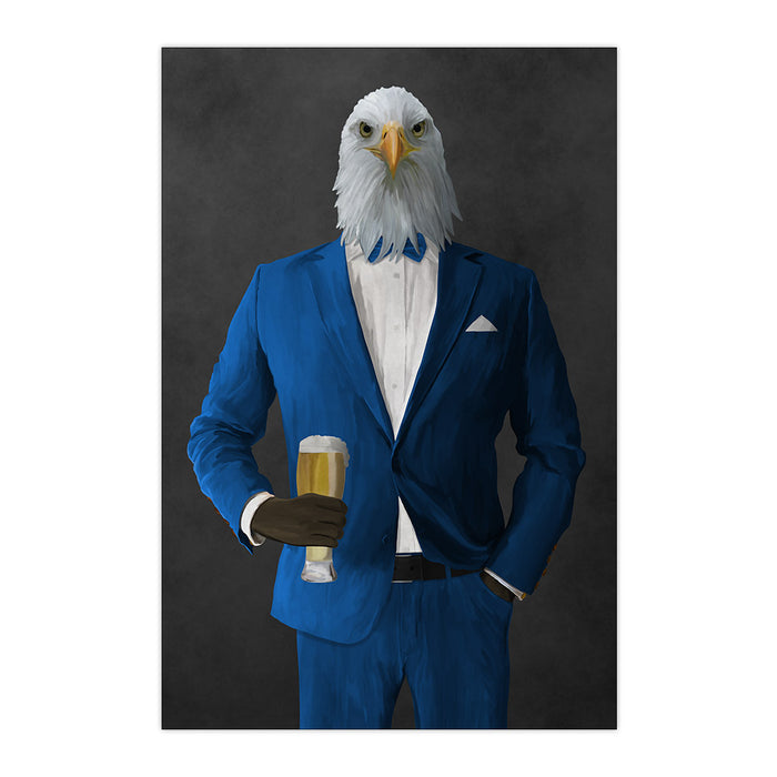 Bald eagle drinking beer wearing blue suit large wall art print