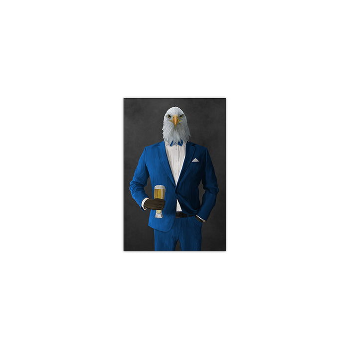 Bald eagle drinking beer wearing blue suit small wall art print
