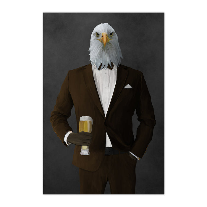 Bald eagle drinking beer wearing brown suit large wall art print