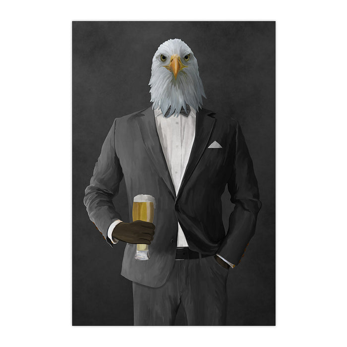 Bald eagle drinking beer wearing gray suit large wall art print