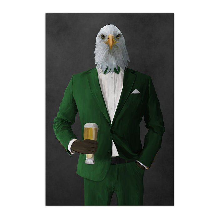 Bald eagle drinking beer wearing green suit large wall art print