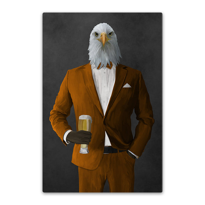 Bald eagle drinking beer wearing orange suit canvas wall art