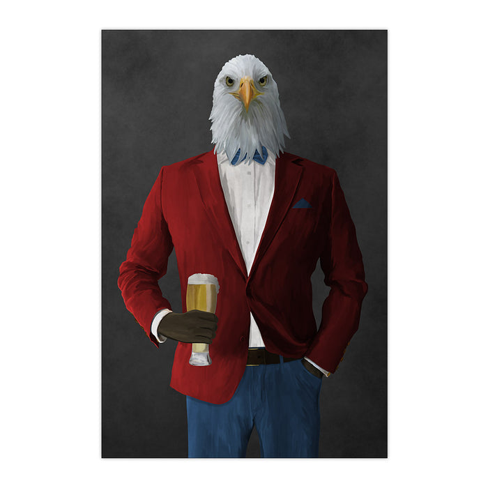 Bald eagle drinking beer wearing red and blue suit large wall art print