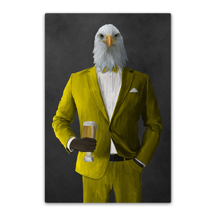 Bald eagle drinking beer wearing yellow suit canvas wall art