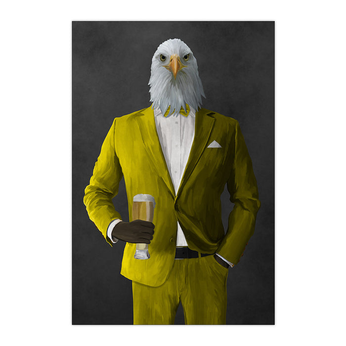 Bald eagle drinking beer wearing yellow suit large wall art print