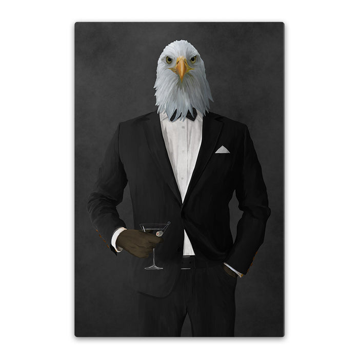 Bald eagle drinking martini wearing black suit canvas wall art