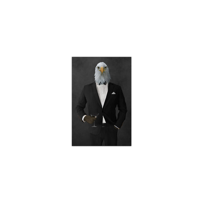 Bald eagle drinking martini wearing black suit small wall art print