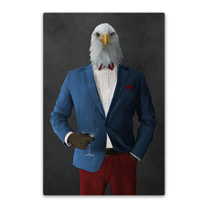 Bald eagle drinking martini wearing blue and red suit canvas wall art