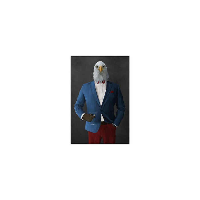 Bald eagle drinking martini wearing blue and red suit small wall art print