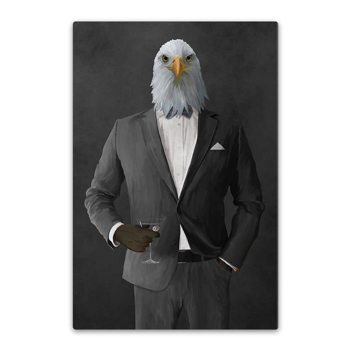 Bald eagle drinking martini wearing gray suit canvas wall art
